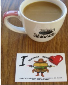 Wonder Burgers-coffee cup with sticker-exam